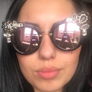 Accessories - Bejeweled cat eye sunnies